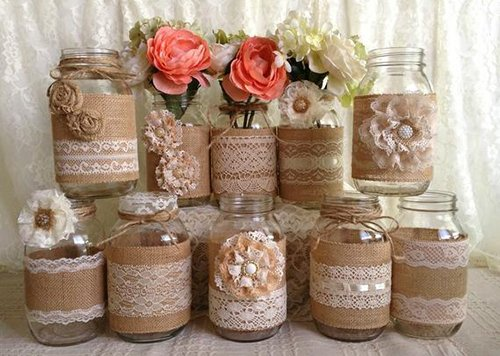 Cover mason jars or bottles with lace