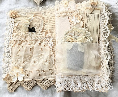 DIY Books with Lace Fabric