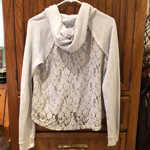 Lace-backed hoodie