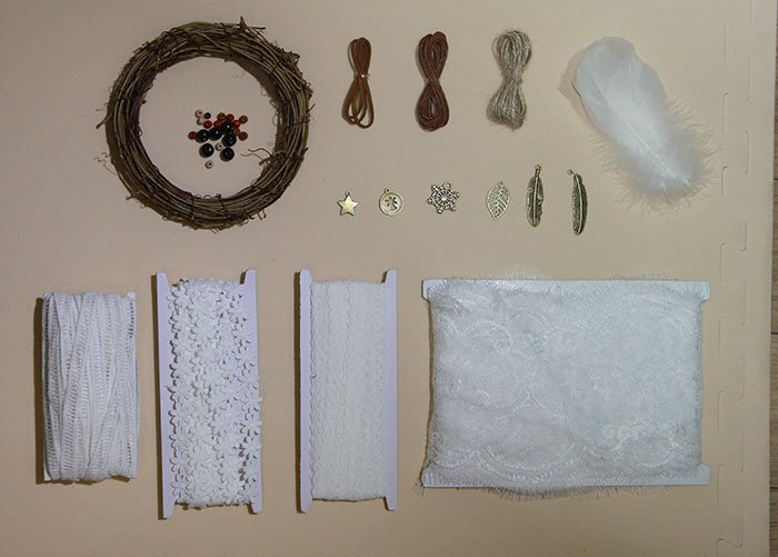 Materials for Lace Dream Catcher
