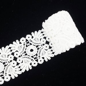 White Lace Ribbon Floral Square Pattern