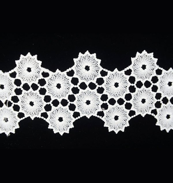 White Lace Ribbon with Bloom Pattern