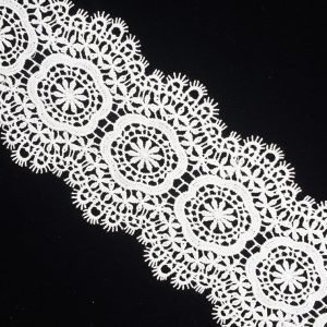 Fringe Floral Center White Lace Ribbon 1