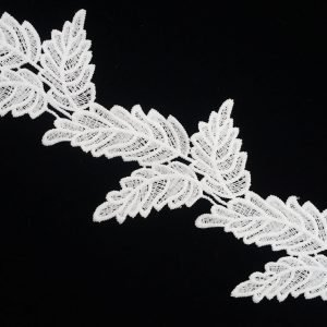 Leather Leaf Pattern White Lace Ribbon 1