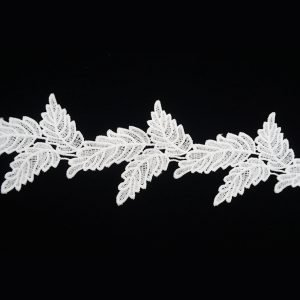 Leather Leaf Pattern White Lace Ribbon