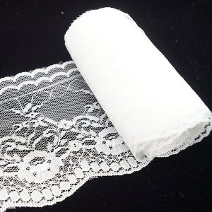 Stretch Floral White Lace Trim