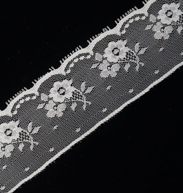 French Tulle Floral White Lace Ribbon 1