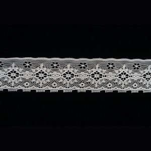 White Lace Trim French Tulle Floral Pattern 1
