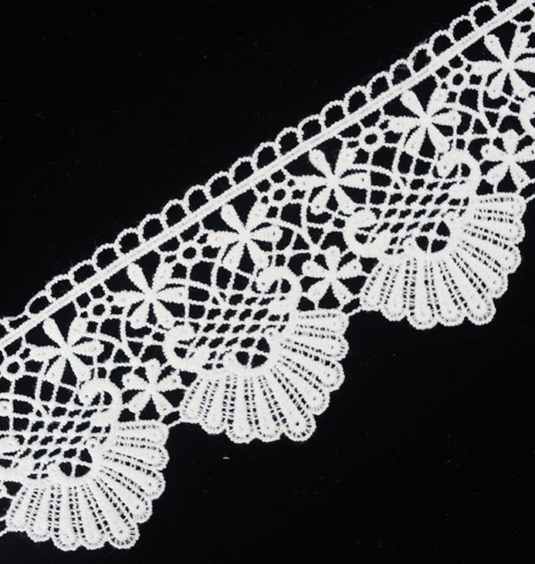 White Lace Trim Guipure Wide Floral