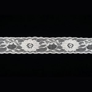 White Lace Trim Sparkle Sliver Floral Pattern 1
