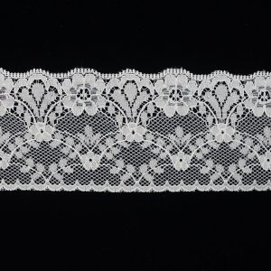 White Lace Trim Tull Embroidery Wide Floral Pattern
