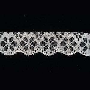 White Tulle Hollowed Floral Lace Trim 1