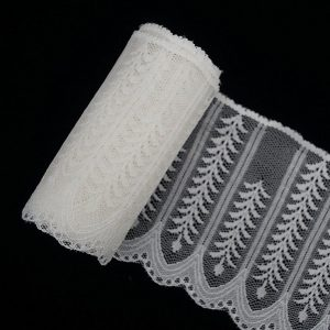 White Tulle Lace Trim Sesame Tree Wide Pattern