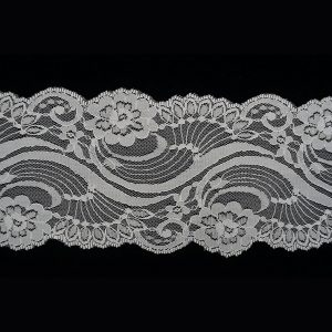 White Wide Tulle Floating Lotus Pattern Lace Trim 1