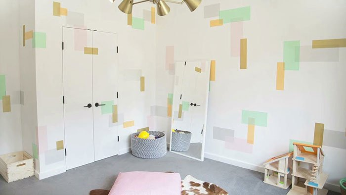 Chevron Wall Art Using Washi Tape