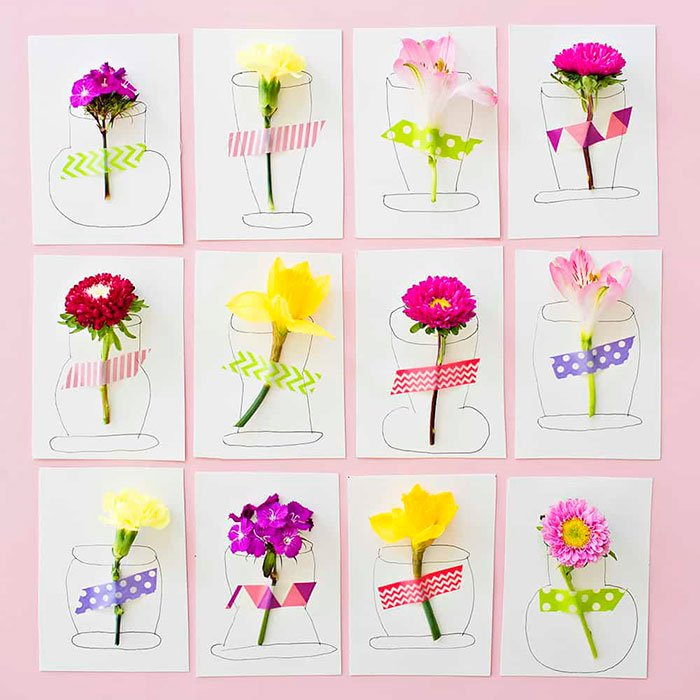 Pop Flower Art with Washi Tape