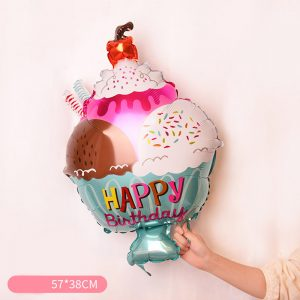 Ice Cream Sundae Shaped Mylar Balloon